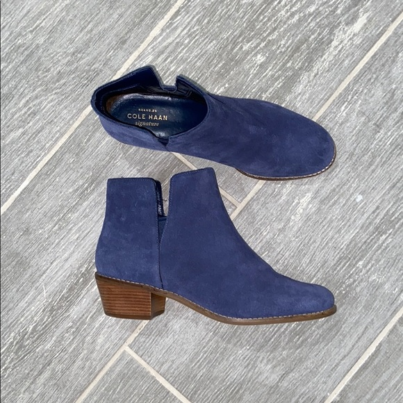 Blue Suede Signature Ankle Boots